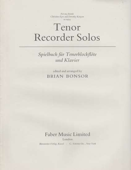 photo of Tenor Recorder Solos, part only