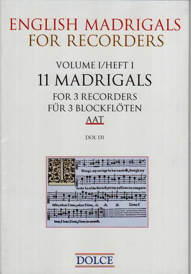 photo of English Madrigals for Recorders, Volume I, 11 Madrigals for 3 Recorders