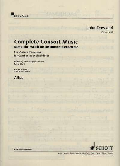 photo of Complete Consort Music, Altus, C clef for strings