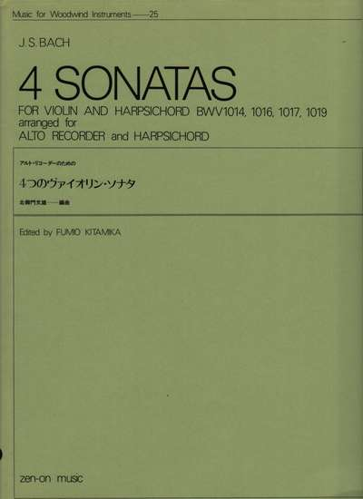 photo of 4 Sonatas BWV 1014, 1016, 1017, and 1019 arranged for alto and harpsichord