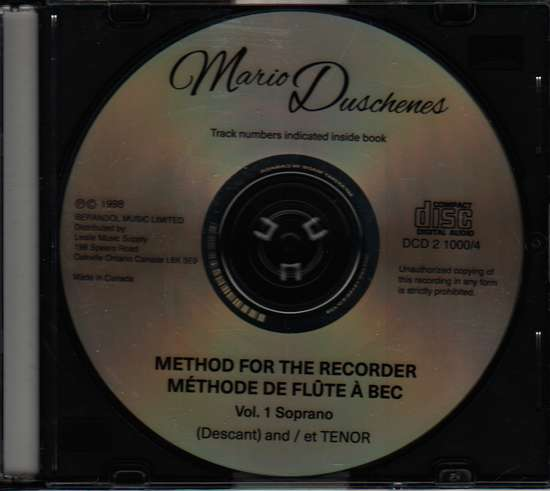 photo of Method for the Recorder, Part One, Soprano, Tenor CD