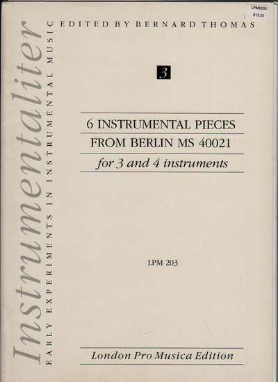 photo of 6 Instrumental Pieces from Berlin MS 40021